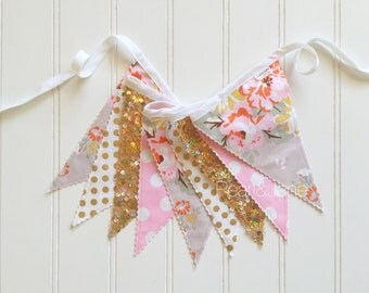 30% off! - Shabby Chic Floral, Gray, Pink, and Gold Fabric Banner - Bunting, Party Decoration, Photo Prop, w/ Sequin Fabric