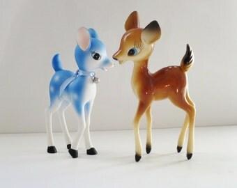 Vintage Plastic Deer Reindeer Figurine, Kitsch 50s Plastic Deer Made in Hong Kong,  Kitsch Holiday Deer Reindeer, Bambi Fawn Reindeer