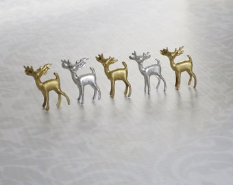 Silver Gold Mini Reindeer Deer Fawn,  Assemblage Craft Miniature Deer, Holiday Village Craft Supplies, Kawaii Miniature Xmas Reindeer