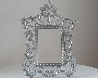 Vintage Silver Photo Easel Back Frame, Ornate Ormolu Victorian Cast Iron Frame, Regency Tabletop Frame, MCM Wedding Bridal Mirrored Frame