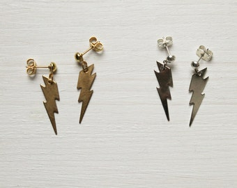 thunders -earrings (simple minimal everyday gold silver plated thunder earrings)