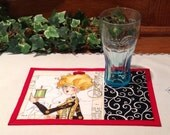 Mug Rug -  Quilted Snack Mat - Sewing Theme - Candle Mat
