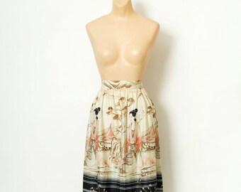 Vintage 70s Skirt / Japanese print  / Asian Print / Vintage Clothing / Vintage skirt / 1970s /  boho dress / Retro / Skirts / free shipping
