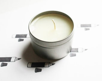 Permanent Marker Scented Candle - Vegan Candle - Homemade Candles - Natural Candles - Tin Candle - Container Candle