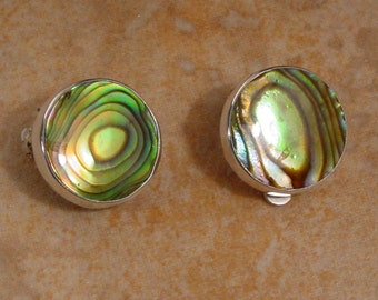 Golden Abalone and Sterling Silver Round Clip Earrings