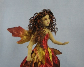 Autumn Leaf Fairy Soft Sculpture Miniature Doll by Marie W. Evans