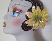 Yellow Poinsettia with sequins hair clip - Weddings - Christmas flower -