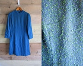 60s Blue and Green Dress size Medium Jackie O Classic Beauty