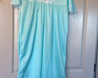 Blue nylon nightgown S/M/L with white lace, knee length new without tags/flutter sleeves