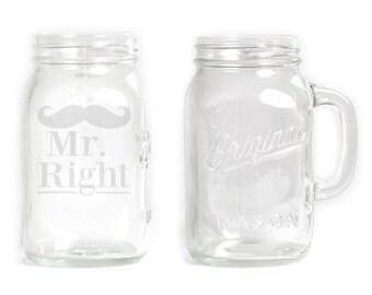 Mason Jar  Mug - 30 oz. Large- 2814 Mr Right