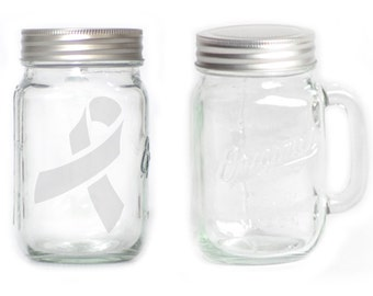 Mason Jar  Mug - 15 oz. small  2657 Cancer Ribbon