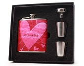 Abstract Red Heart Personalized Flask // Womens Flask Valentines Day