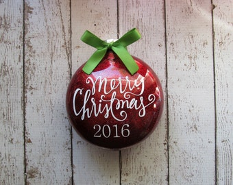 Merry Christmas Ornament - 2016 Ornament - Family Ornament - Personalized Ornament - Keepsake Ornament - Family Ornament Personalized