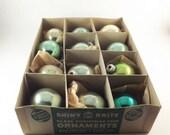 12 Vintage Shiny Brite Christmas Tree Balls, Shades of Green and Gold Round Ornaments, Original Box