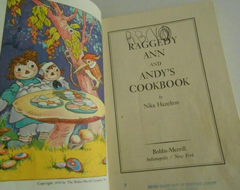 vintage Raggedy Ann Andy Cookbook 1975