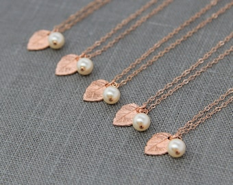 Rose Gold and Pearl Necklaces, Set of 8, Rustic Bridesmaid Gifts, Rose Gold Leaf Jewelry, Rose Gold Leaves Necklaces