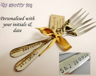 2 Personalised Initials & Date Hand Stamped Wedding or Celebration Cake Forks, Engagement, Birthday