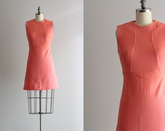 60s Mod Mini Dress . Pink Sixties Dress . Sleeveless A Line Dress