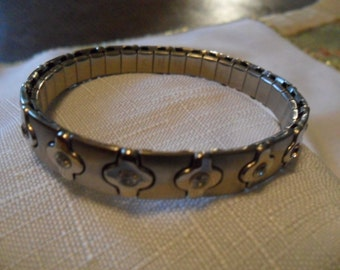 Vintage Silver Tone Stainless Steel Bracelet with CZ's