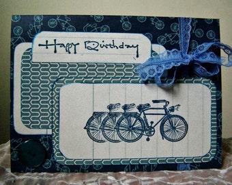Handmade Birthday card, Bicycle card, Birthday Bicycle greeting card, Happy Birthday card, Triathlon theme, Two Wheeler card, Bike card