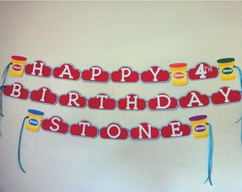 PLAY DOUGH Birthday Party Banner Sign Play Doh