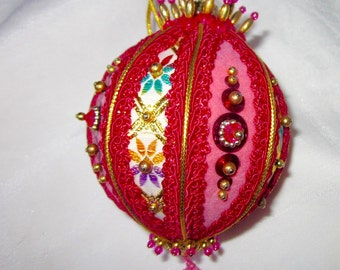 Pink Christmas Ornament Vintage Holiday Decoration Jeweled Ornament Mid Century Home Decor 1960s Handmade