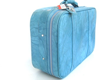 Vintage Mid Century American Tourister Soft Sided Suitcase // Weekender // Turquoise // Aqua // Interior Like New
