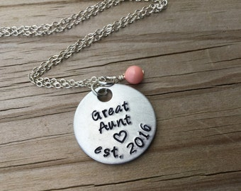 "Great Aunt Necklace- Hand-stamped ""Great Aunt est (year of choice)"" with a stamped heart and an accent bead or birthstone of your choice"