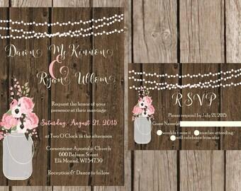 Rustic Wedding Invitation, Mason Jar Wedding Invitation, Wood Wedding Invitaiton, Country Wedding Invitation, Barn Wedding Invitaiton,Custom