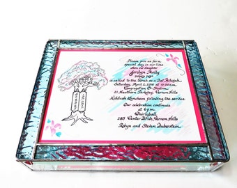 Stained Glass Keepsake Box Bat Mitzvah Gift Box Custom-made Handmade 8x10x2 Red Wedding Invitation Bride Groom Photograph