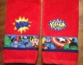 Set of 2 Super Hero Avengers Inspired Bathroom Hand Towels