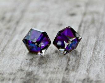Titanium Earrings, Heliotrope Z Crystal Swarovski Crystal Cube Earrings, 8mm, Hypoallergenic