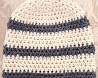 "Children & Tween's Beanie Hat, gray  Ivory Stripes, Spring hat, Easter, hand crocheted, 19-20"""