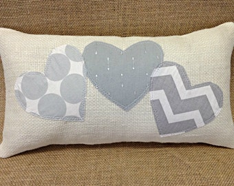 Valentine Pillow, Valentines Day Pillow, Grey Heart Pillow, Valentine Gift, Valentines Day Gift, Wedding Gift, Burlap Pillow, Grey Pillow