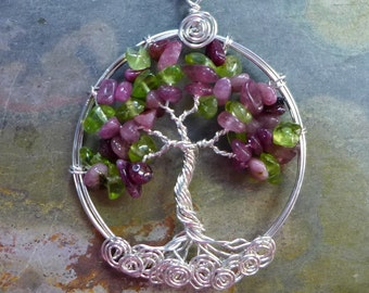 Tree of life Pendant Necklace-Pink Tourmaline, Peridot Tree of Life Pendant with Sterling Silver Chain- October Birthstone Gift