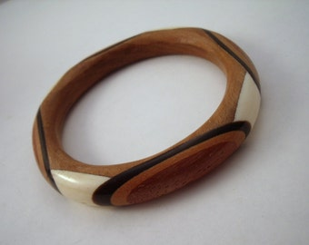 Inlaid wood bangle