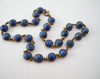 Vintage Czech art glass bezel set stone necklace.  Blue glass necklace