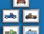 Boys trucks art, vintage trucks artwork,  boys cars trucks nursery art, vintage pickup trucks art
