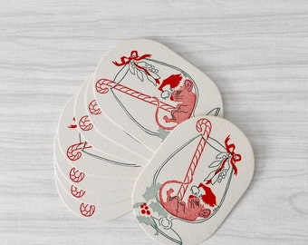 vintage embossed christmas cocktail coasters / drink holders / party decor / set of 8 / mouse mice illustration
