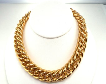 Vintage Signed Anne Klein Bold Chunky Gold Chain Collar Necklace