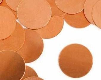 """Metal Stamping Blanks Circle Blanks 1"""" Copper Impressart Stamping Blanks 4 pieces Wholesale Stamping Blanks 24 gauge"""