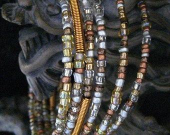 All Metals Bronze, Copper, Pewter Gold Beaded Memory Wire Bracelet