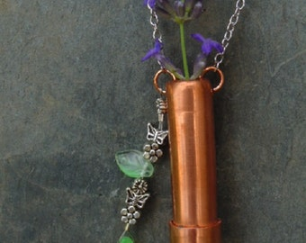 Copper Vessel Necklace with Green Leaves, Butterfly and Flower Charms