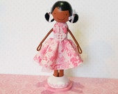 SweetHeart Raven African American Miniature Wooden Clothespin Doll