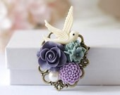 Bird Brooch, Ivory Bird Purple Dusky Blue Flower Collage Brooch, Bridal Sash Brooch, Wedding Bouquet Accessory, Valentines Day Gift for Her
