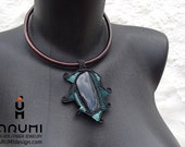 Teal and Turquoise color fiber necklace with Spider Net OBSIDIAN stone, OOAK macrame necklace with leather cord, made by ARUMIdesign