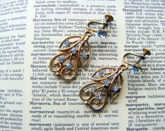Vintage Blue Rhinestone Earrings Screw Back Aqua and Goldtone