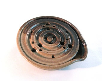 Draining Soap Dish - Soap Dish Drain Tray - One Piece Soap Saver  - Handmade Pottery - Pottersong - Earthtones - Walnut Brown - Oatmeal Tan