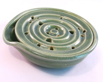 Soap Dish - Draining Soap Dish -  One Piece - Soap Saver - Kitchen or Bath - Handmade Pottery - Pottersong -  Bright Green Soap Dish