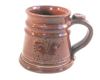 12 oz.Tankard, Stein, Coffee Mug - Handmade Pottery Glazed in Rustic Albany Slip